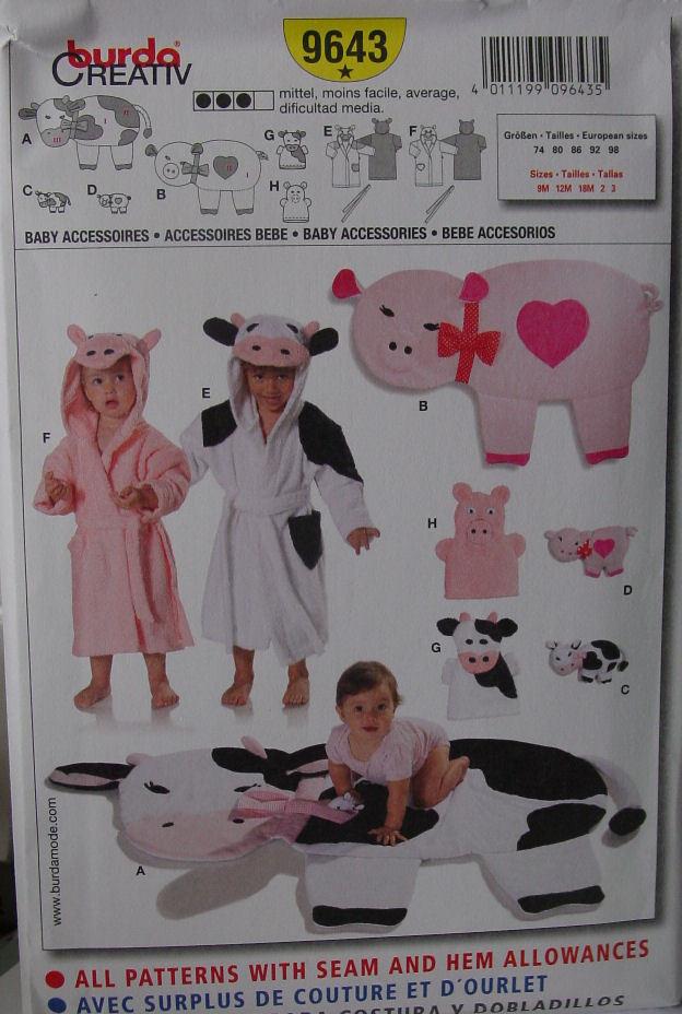Pattern 9643 Child's Bathrobe sz 9 m - sz 3, Rug, Bath Puppets, Stuffed Toys