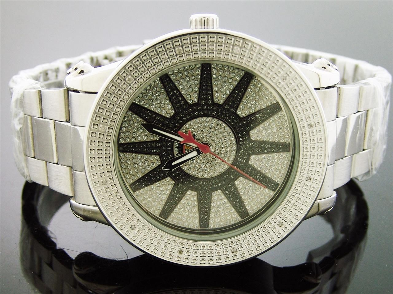 Primary image for Techno Royale 50mm Round Silver Tone 12 Diamonds Watch silver black face