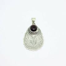 Handmade Flower Carved Garnet 925 Sterling Silver Pendant Jewelry - $13.08