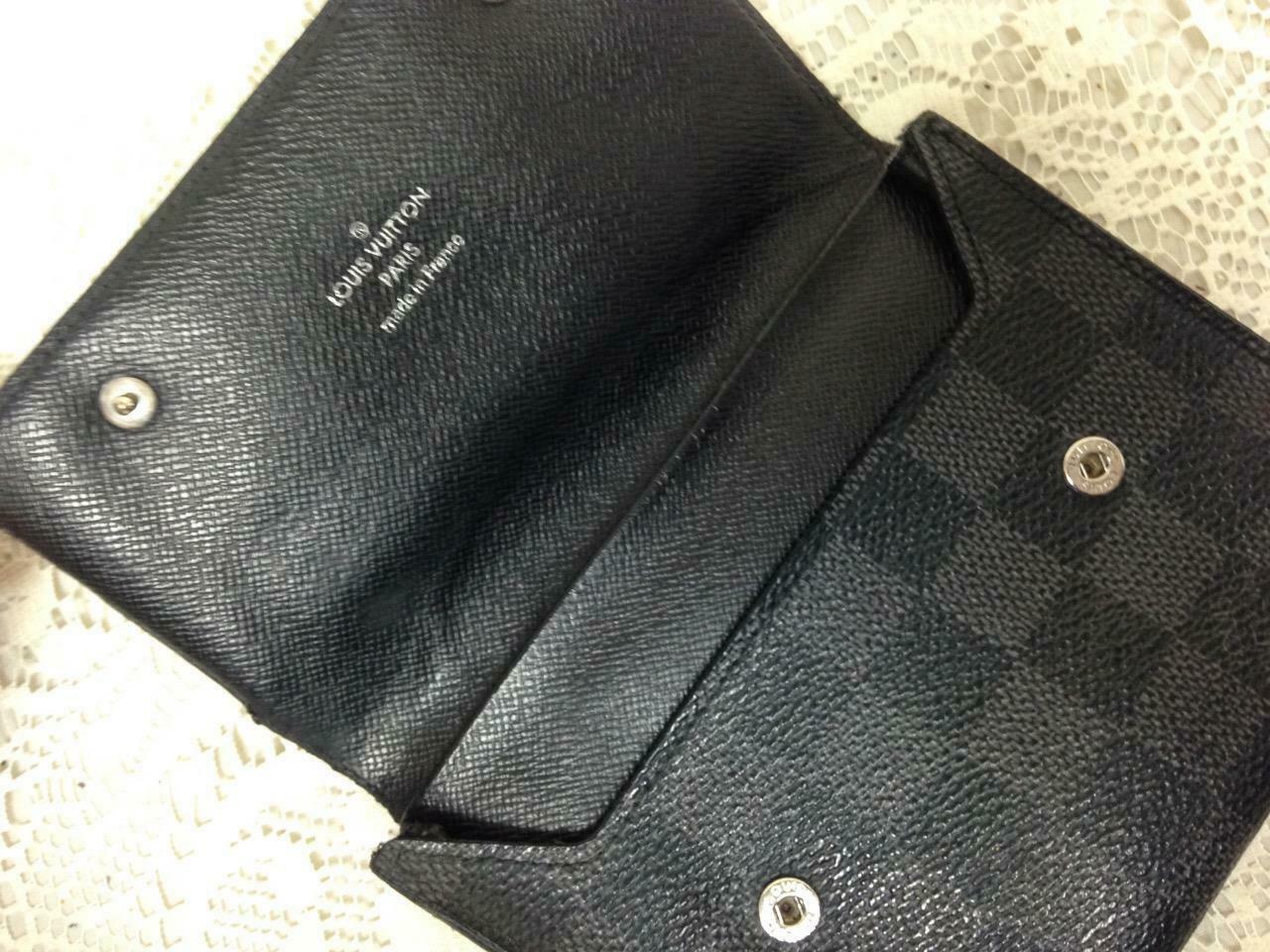 Authentic Louis Vuitton Graphite Damier Canvas Leather Unisex Wallet 5.5inx4.5in - $189.95