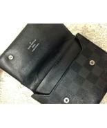 Authentic Louis Vuitton Graphite Damier Canvas Leather Unisex Wallet 5.5... - $189.95