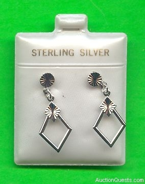 Dainty Sterling Silver Earrings (rectangular)
