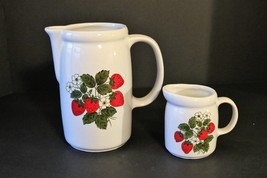 "McCoy Pottery Strawberry Country Pitcher 7"" 1429 Creamer 3 3/4"" 1414 USA - $10.00"