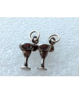 2 CUTE VINTAGE STERLING SILVER MARTINI GLASS CHARM PENDANT LOT - $21.77