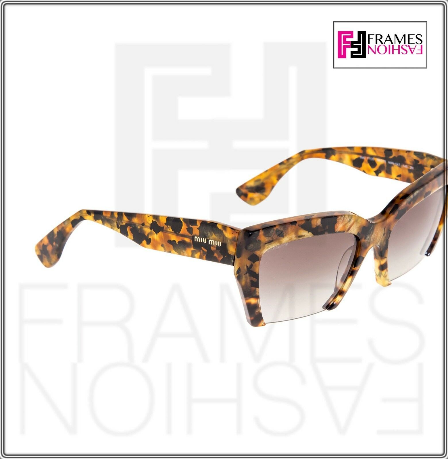 MIU MIU RASOIR 11O Square Sunglasses MAN-0A7 Caramel Marble Sunglasses MU11OS image 5