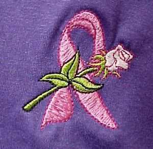Primary image for Pink Ribbon Rose T Shirt Large Breast Cancer Awareness Short Sleeve Purple New