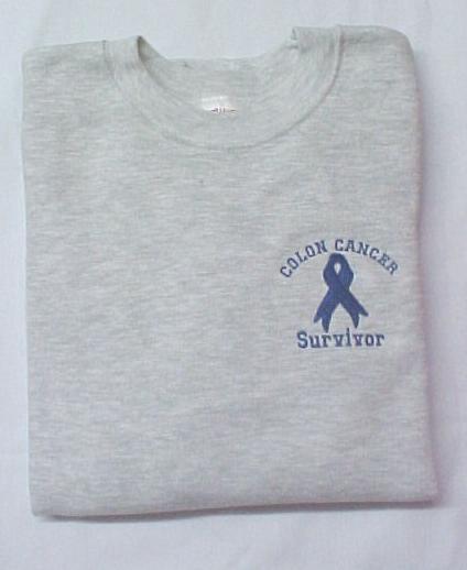 Blue Ribbon Sweatshirt S Colon Cancer SURVIVOR Gray Crew Neck Unisex New