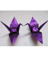 "100 large glittering / shiny purple origami cranes 6"" x 6"" - $30.00"