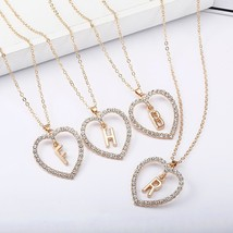 2018 Simple Gold Color  Love Heart Necklaces & Pendants Double Rhineston... - $9.83