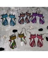 Cat earrings flowers 60s acryllic dangle pussy kitten cat lover  - $18.00