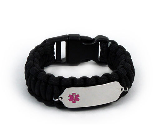 Primary image for Paracord Medical ID Survival Bracelet with Pink emblem. Free medical wallet Card