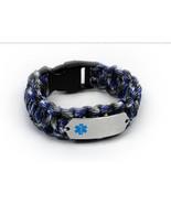 Paracord Medical ID Survival Bracelet with Blue emblem. Free medical wal... - $34.99