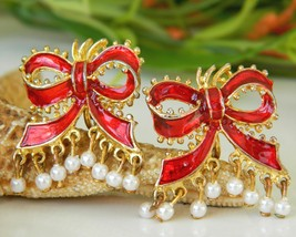 Vintage Red Bow Enamel Holiday Christmas Earrings Pearls Clip On   - $14.95