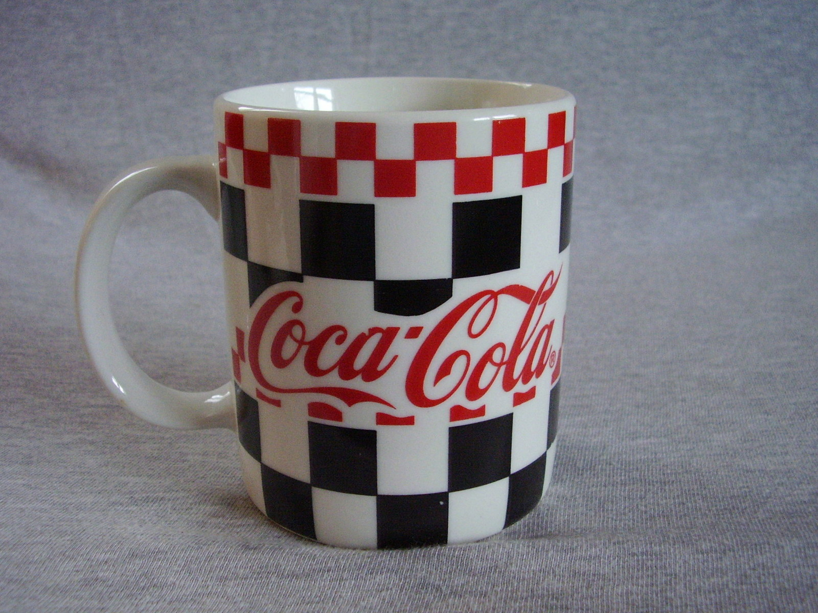 Primary image for Gibson Coca Cola Dinnerware Mug Red Black Checker