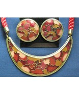 Red Cloisonne Necklace & Earring Fashion Set - $14.99