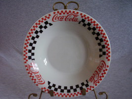 Gibson Coca Cola Coupe Soup Bowl Red Black Checkers - $18.00