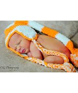 Hand crocheted orange & white  team color pixie hat for infant - $20.00