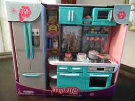 "My Life Kitchen Play Set 64 PCS Dishwasher Oven Lights Sounds 18"" Dolls NEW - $58.50"