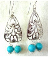 Pewter with Turquoise Dangles with Sterling Sil... - $70.08