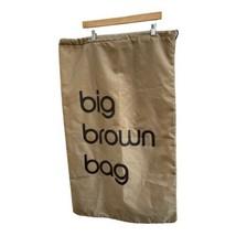 Bloomingdales Big Brown Bag Drawstring Nylon Laundry Sack 35 x 21 inches - $9.89