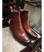 Handmade Ankle High Cognac Jodhpurs Patina Leather Boots Custom Boots Fo... - $189.99+
