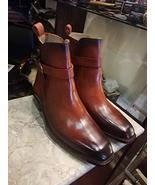 Handmade Ankle High Cognac Jodhpurs Patina Leather Boots Custom Boots Fo... - $189.99+