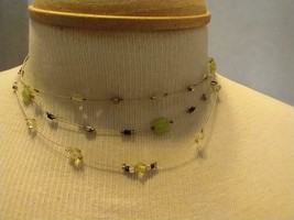 """13""""VINTAGE Signed Ny Green Moonstone Station 3 Strand Steel Wire Choker Necklace - $8.90"""
