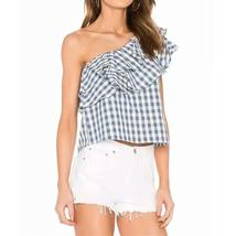 Blue & White Gingham Ruffle Top - $18.42