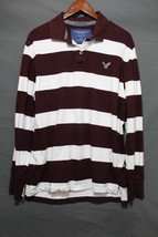 Men's AEO Classic Fit Eagle Polo Long Sleeve Burgundy Stripe LRG - $7.94