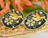 Damascene bird in flight flower earrings spain spanish pierced thumb155 crop