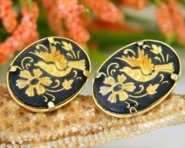 Damascene Bird In Flight Flower Earrings Spain Spanish Pierced - $16.95