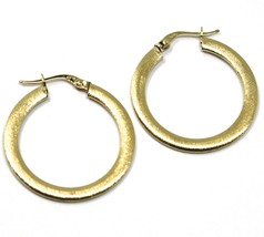 18K YELLOW GOLD CIRCLE HOOPS 3x1mm, EARRINGS 26mm, DOUBLE FACE SMOOTH & SATIN image 2