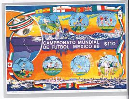 MEXICO 1986 WORLD CUP STAMP SHEET$110  MNH - $2.95