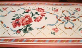 Wallpaper Border Vintage Blue Ribbon Pink Roses Red White 10096 country kitchen - $14.84