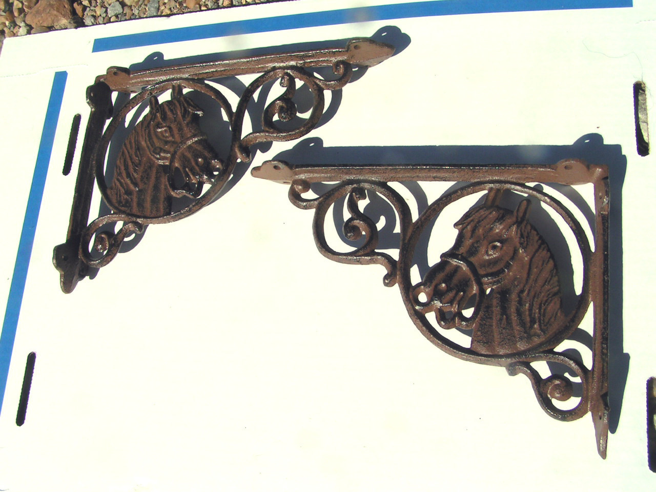 2 Cast Iron Shelf Brackets Western Horse Head Corbels