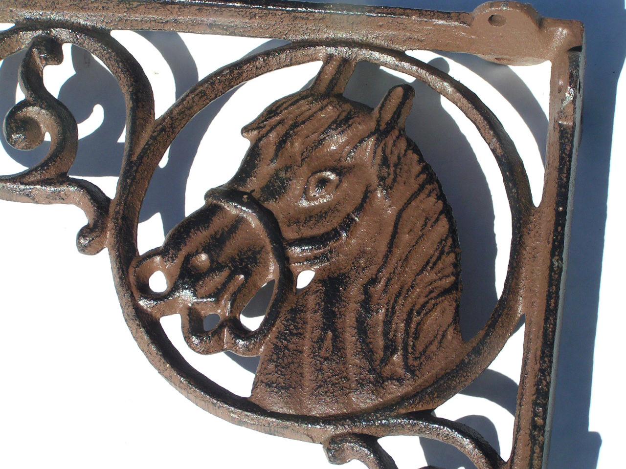 2 Cast Iron Shelf Brackets Western Horse Head Corbels