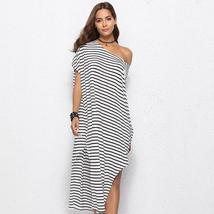 Women Black And White Striped Single Shoulder T-Shirt Sundress image 1