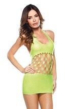 NEW FANTASY LINGERIE WOMEN'S DIAMOND CUTOUT HALTER DRESS GREEN #B629 ONE SIZE