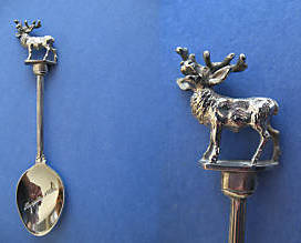 Primary image for LINCOLNSHIRE England Souvenir Collector Spoon DEER Figural BURGHLEY HOUSE