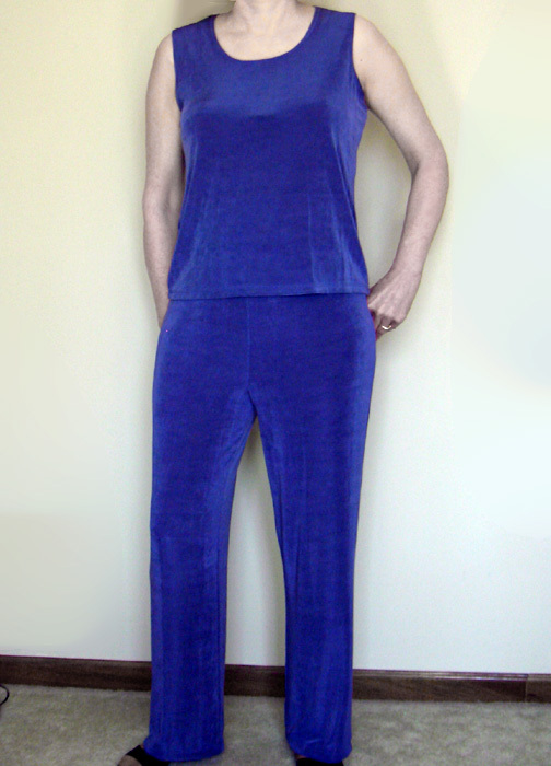Ladies knit pants & 2 tops also with silk like poncho  4 pc