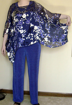 Ladies knit pants & 2 tops also with silk like poncho  4 pc  - $32.00