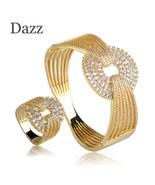 Dazz Luxury Wedding Wide Bangle Ring Set Three Tones Color Full Zircons ... - $61.24