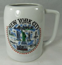 New York City Beer Mug White with NYC Sights Statue of Liberty Twin Towe... - $9.74