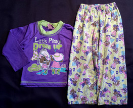 "Girl's Size 2T 2 T Two Piece Purple ""Lets Play Dress Up"" Pajama Top & Pa... - $10.50"