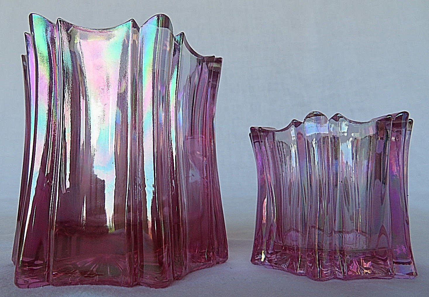 2 FENTON Vintage Art Glass handmade in USA Purple Pink Candle Holder Dish