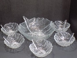 Vintage 6 Pc Mid Century BLENKO Clear Glass Leaf Design Salad Bowl Set - $69.30