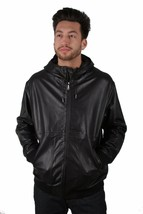 Versace Jeans Hooded Sheep Skin Leather Jacket NWT image 1