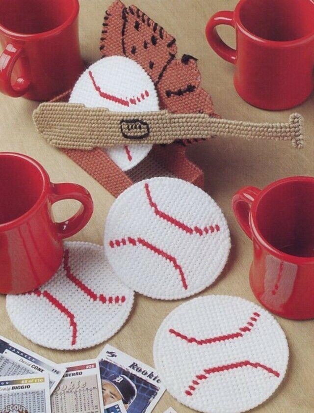 Baseball Coaster Set Plastic Canvas Pattern/Instructions Leaflet NEW