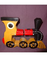 "Vintage Train Piggy Penny Bank Wooden Locomotive Steam Engine 6"" Brown B... - $23.56"