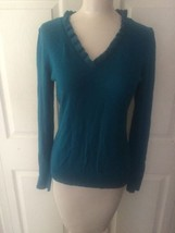 Ann Taylor Sweater Size S Turquoise Blue Ruffled V-Neck - $24.75
